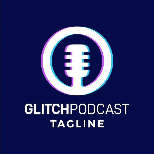 Logo moderne simple de podcast glitch