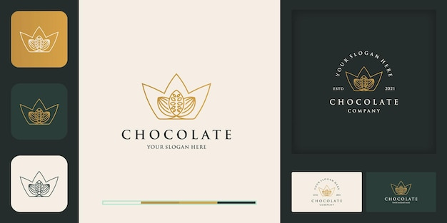 Logo Moderne Vintage De Fèves De Cacao De La Couronne Et Carte De Visite Vecteur Premium