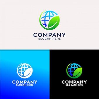 Logo monde avec feuille
