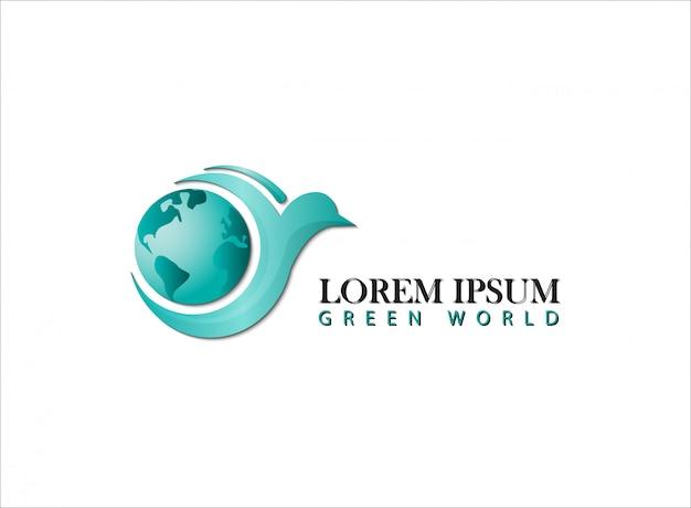Logo monde vert avec oiseau