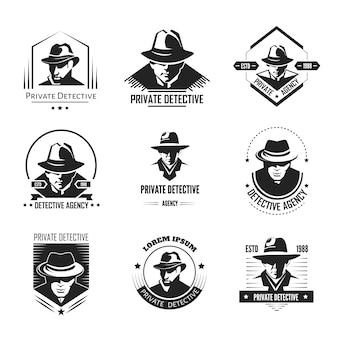 Logo monochrome promotionnel de détective privé avec homme au chapeau