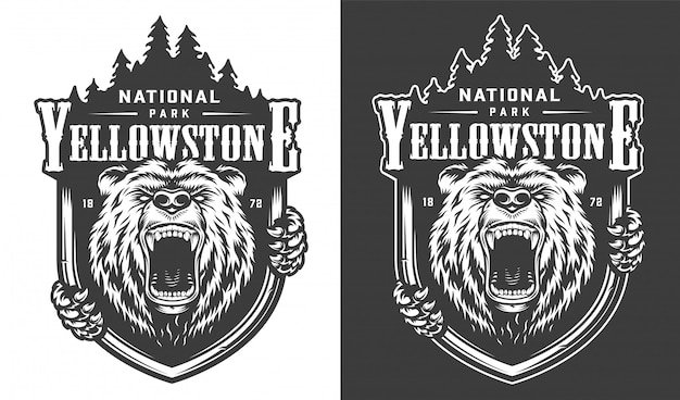 Logo monochrome vintage du parc national de yellowstone