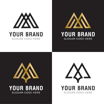 Logo monogramme abstrait collection avec symbole initial de la lettre m