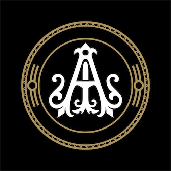 Logo monogramme ai avec ornement
