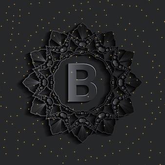 Logo monogramme effet damassé foncé doré