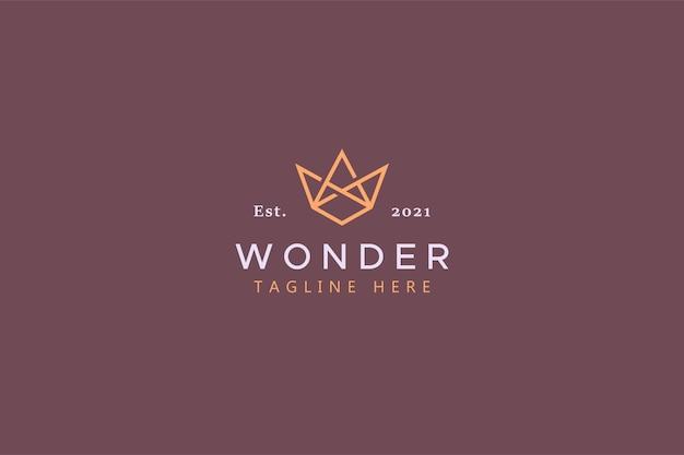 Logo monogramme géométrique de la lettre w. couronne d'ornement de forme abstraite.