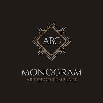 Logo monogramme avec initiales de luxe d'époque art déco