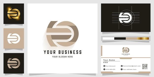 Logo monogramme lettre eo ou ea avec conception de carte de visite