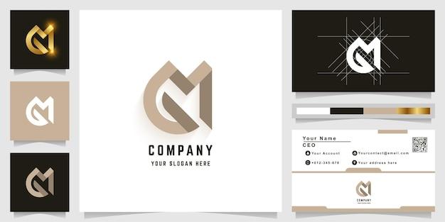 Logo monogramme lettre m ou gm avec conception de carte de visite