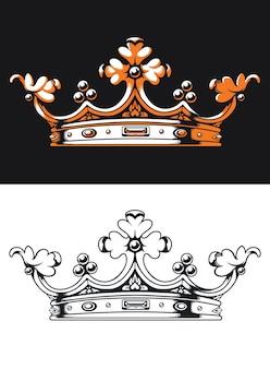 Logo monogramme rétro silhouette couronne héraldique sur style noir et blanc