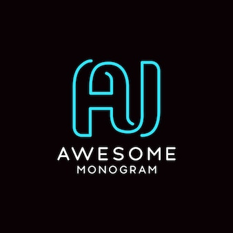 Logo monogramme simple et créatif aj