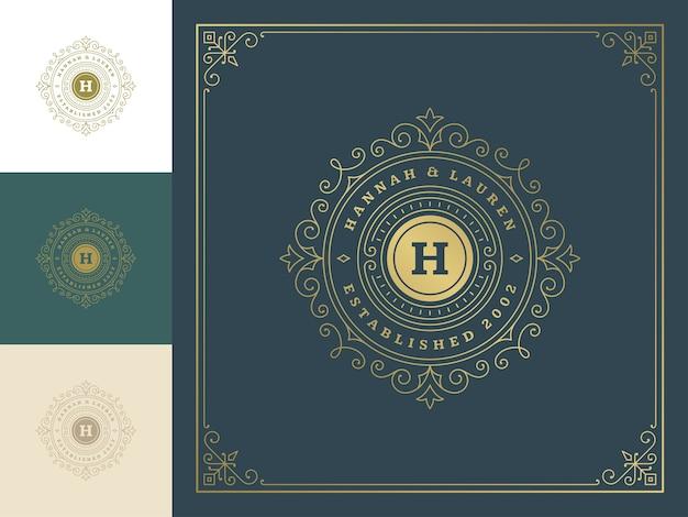 Logo monogramme vintage élégant s'épanouit dessin au trait