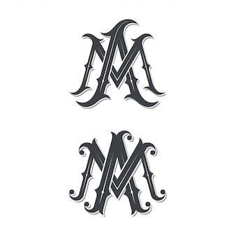 Logo monogramme vintage de ma.