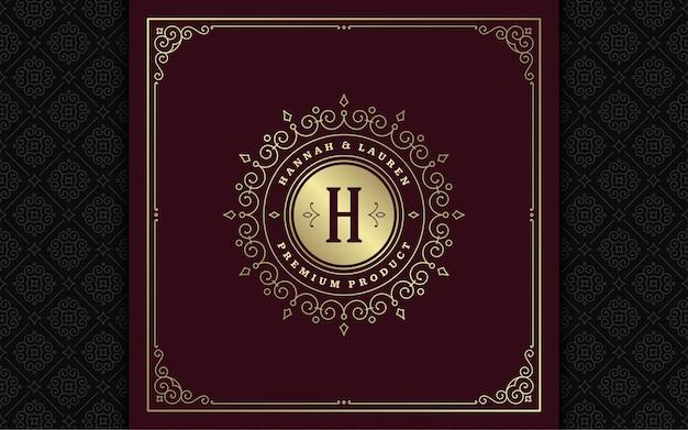Le logo monogramme vintage s'épanouit élégant art de la ligne ornements gracieux conception de modèle vectoriel de style victorien. boutique héraldique royale de crête de luxe calligraphique classique, enseigne de restaurant et cadre orné