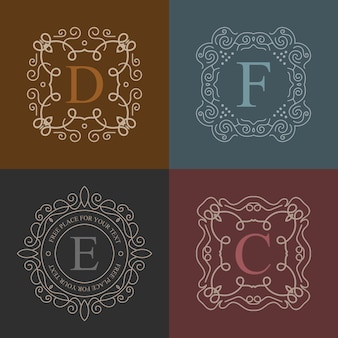 Logo de monogramme vintage vectoriel