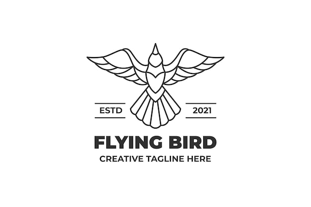 Logo monoline animal oiseau volant