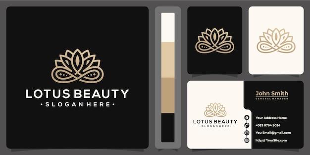 Logo monoline de beauté lotus avec modèle de carte de visite