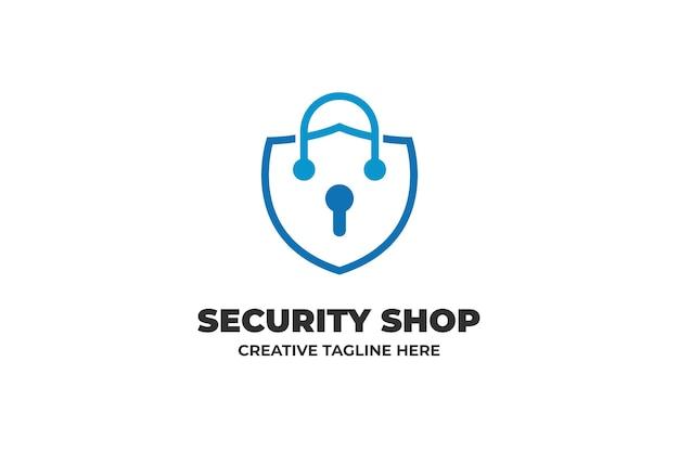 Logo monoline de cadenas d'assurance de sécurité