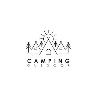 Logo monoline camping en plein air