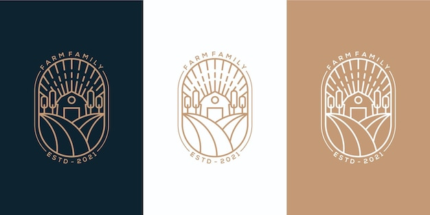 Logo monoline d'emblème de famille de ferme