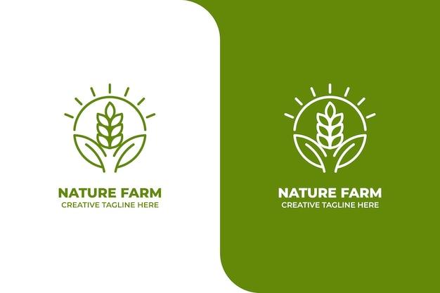 Logo monoline de ferme de blé de la nature verte