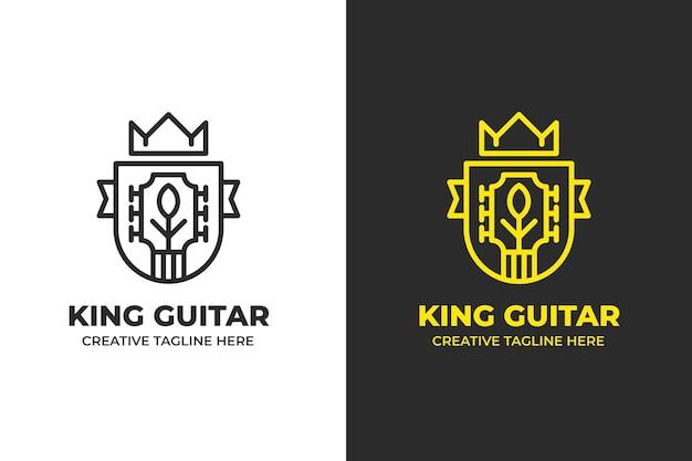 Logo de monoline d'instrument de musique de guitare de roi