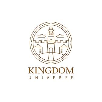 Logo monoline kingdom avec tour et forme de bâtiment