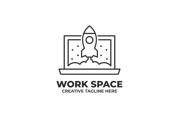 Logo monoline de lancement de fusée d'espace de travail