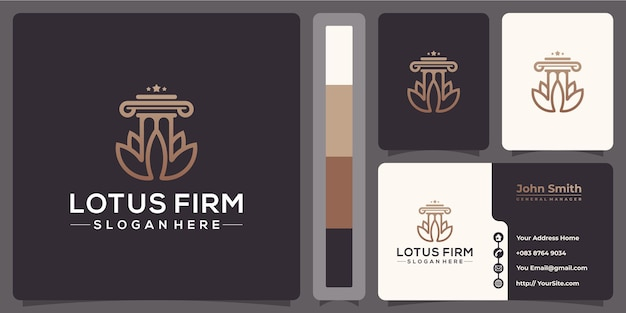 Logo monoline lotus firm law avec modèle de carte de visite
