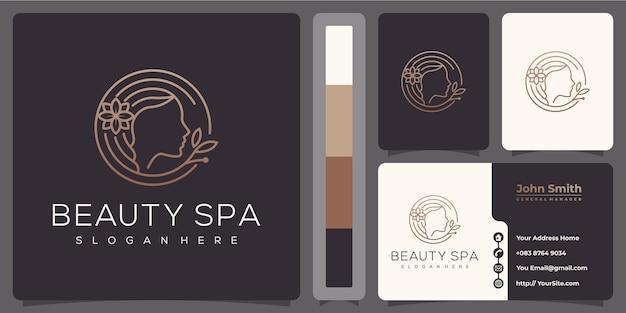 Logo monoline de luxe beauté spa femme avec modèle de carte de visite