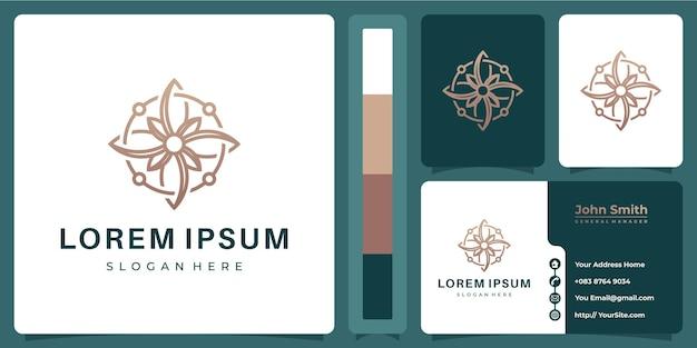 Logo monoline de luxe fleur avec concept de carte de visite