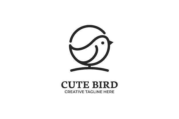 Logo monoline mignon petit oiseau