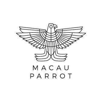 Logo monoline perroquet ara