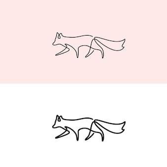 Logo monoline de renard ligne minimal