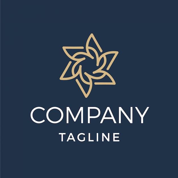Logo monoline de symétrie de fleur abstraite de luxe