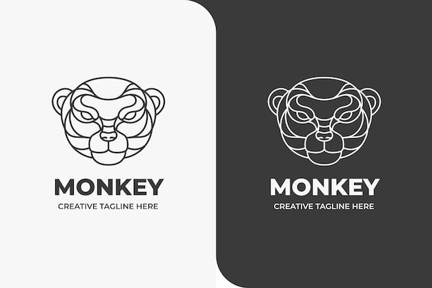 Logo monoline tête de singe