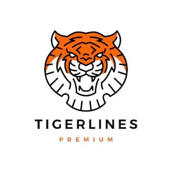 Logo monoline tête de tigre