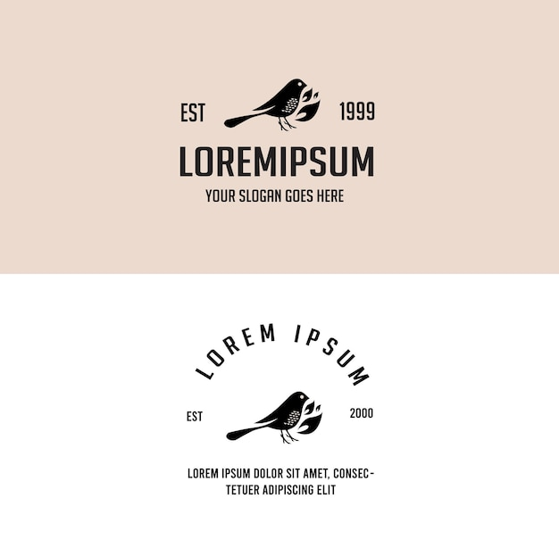 Logo de monoline vintage sauvage simple animal eco oiseau