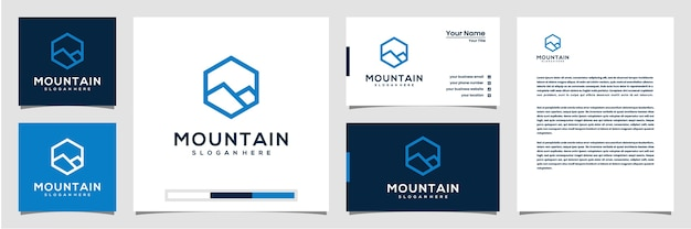 Logo de montagne créatif avec hexagone et carte de visite de logo de style art en ligne et papier à en-tête