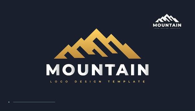 Logo de la montagne dorée. création de logo de collines de paysage