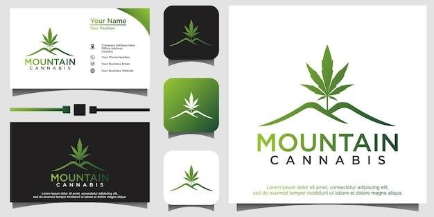 Logo de montagne de feuille de chanvre de pot de cannabis