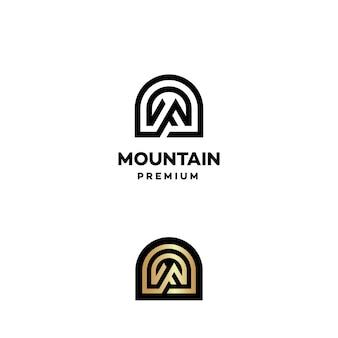 Logo de montagne avec initiale m premium