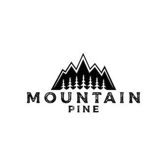 Logo de montagne avec pins, cèdres, modèle de conception de logo d'aventure en plein air