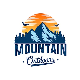 Logo de montagne pour l'aventure et modèle de conception de logo en plein air