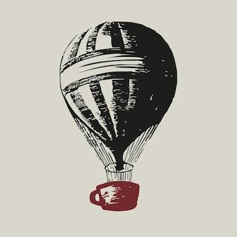 Logo de montgolfière avec illustration d'identité d'entreprise d'entreprise de tasse de café rouge en sourdine