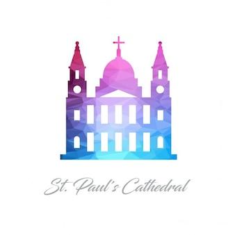 Logo monument abstrait pour la cathédrale st pauls en triangles