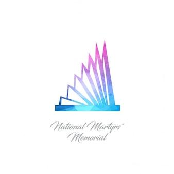 Logo monument abstrait pour le mémorial natinoal martyrs en triangles