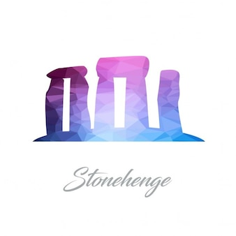 Logo monument abstrait pour le stonehenge en triangles