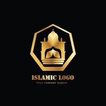 Logo de la mosquée islamique avec couleur or