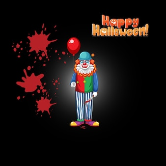 Logo de mot halloween heureux avec clown effrayant